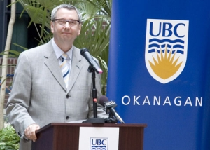 UBC President Stephen Toope announces a milllion-dollar from Klaus and Lydia Reichwald.
