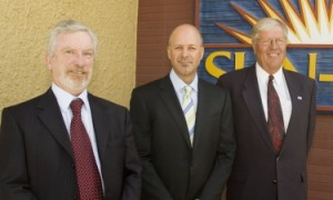 From left: UBC Okanagan Deputy Vice Chancellor Doug Owram joined Sun-Rype's CEO Eric Sorensen and Board Chair Merv Geen in announcing Sun-Rype's scholarship endowment.