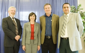 On hand for UBC Okanagan's first Teaching Excellence and Innovation Award presentation were, from left, UBC Okanagan Deputy Vice Chancellor Doug Owram, Assoc. Vice President Learning Services Gwen Zilm, award-winner and Assoc. Prof. of Mathematics Blair Spearman, and Assoc. Vice President Academic and Research Alaa Abd-El-Aziz.