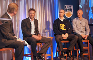 Former CHBC Sports Director Pat Kennedy interviewed Canadian Olympic rowing medalists Scott Frandsen, Ben Rutledge and Jake Wetzel on Friday morning at the Valley First UBC Okanagan Athletics Scholarship Breakfast fundraiser.