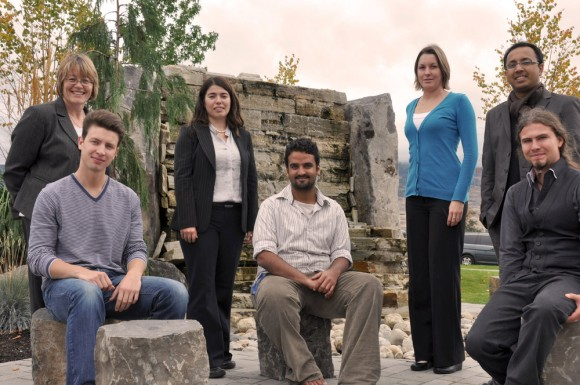International Student Community Achievement Award winners (front row, from left) Oliver Szeleczky, Suud Nahdi and Manuel Leckel. Selection committee members (back row, from left) Teresa Flanagan, Cigdem Eskicioglu, Jeannine Kuemmerle and Abu Arif. (Missing are award winners Yolanda Moser, Sim Zijian and Adi Prabowo and selection committee members John Burton and Jessica Stites Mor.)
