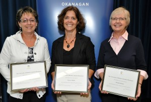 During a ceremony on Wednesday, UBC's Okanagan campus presented 2010 Staff Awards of Excellence to, from left, Pat Braham, Karen Seddon, and Brenda Hamm.