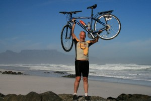 Kelowna surgeon Dr. Bill Nelems on the beach near Cape Town, South Africa, after cycling 4,500 kms across southern Africa earlier this year. Dr. Nelems will be speaking about his adventure at the Oct. 1 fund-raising barbecue and social at UBC's Okanagan campus.