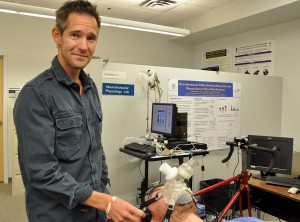 Human kinetics researcher Phil Ainslie in the lab.