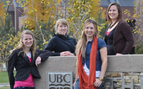 Members of the African Gala organizing team are, from left, Daniela Fast, Louise VanderHoek, Hannah Viejou, and Jessica Witzaney.