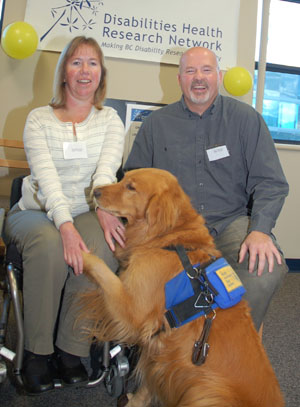 Dr. Bonnie Sawatzky and Dr. Lawrence Berg, co-leaders  of the new Disabilities Health Research Network (DHRN),  and Sawatzky's service dog Phoenix, were on hand for  Friday's official launch of the DHRN at UBC Okanagan.