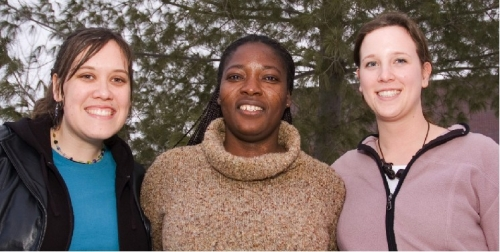 Nursing students Krystal Morrison, left, and Lianne Jones, right, are among 17 students in Ghana until mid-March for practical experience in that African nation's rural health care system. Vida Yakong, middle, is a former nurse practitioner from Ghana currently pursuing a Master of Science in Nursing degree at UBC Okanagan.