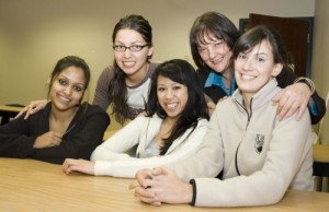 More than 30 students served with UBC Okanagan's Peer Support Network this year, helping to mentor their fellow students. Mentors included, from left, Sonam Mahopatra, Krystal Summers, Roxanne Bautista, Kimberly Keen, and Carmen Marshall.