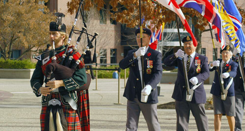 Piper Samuel Doyle led the colour party at last year's first Remembrance Day ceremony on UBC's Okanagan campus. This year's ceremony is tomorrow, Thursday, Nov. 8, starting at 10:45 a.m. in the courtyard.