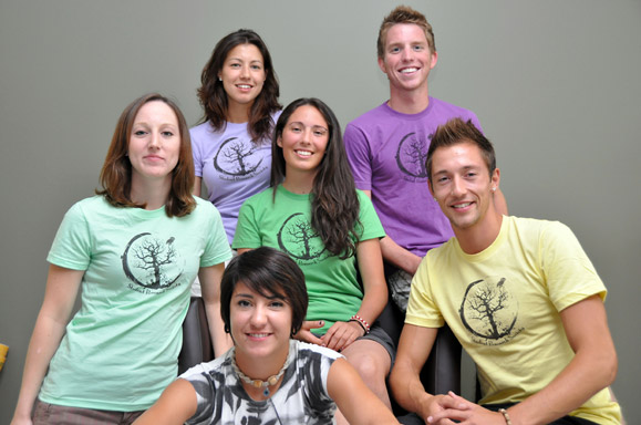 Sydney White, middle, with fellow undergraduate researchers, clockwise from bottom, Whitney Rotzien, Zosia Kossowski, Natashia Bose-Roberts, Andrew Hughes and Rylie Moore.