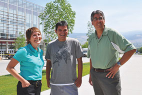 Adrienne Vedan, left, and Dan Odenbach, right, are helping Aboriginal students like Chris Alexander through the first part of their university experience at UBC's Okanagan campus.