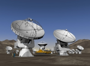 ALMA's location in the Atacama Desert is one of the highest, driest places on Earth -- Image courtesy of NRAO/AUI and Computer Graphics by ESO