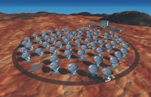 Artist's conception of the ALMA antennas in a compact=
