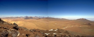 View south from Cerro Chajnantor, Chile, of ALMA site. -- Image by S. Radford, courtesy of NRAO/AUI