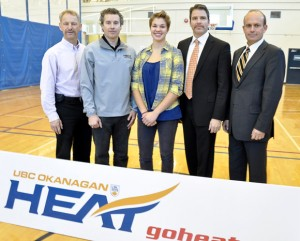 From left, Rob Johnson, Director of Athletics and Recreation at UBC's Okanagan campus, with Heat women's volleyball head coach Steve Manuel, Capri Insurance scholarship recipient Chandler Proch, and Capri Insurance partners Tim Miller and Chris Rigg.