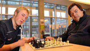 Sean Kelman, left, won a recent fund-raising chess tournament in Vernon, defeating Greg Bishop in a blitz playoff game. The UBC Okanagan Chess Club is hosting a tournament at UBC Okanagan January 23.