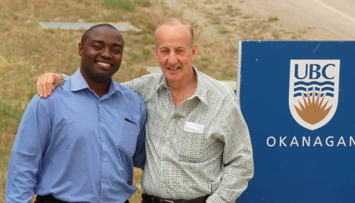 Donald Kololo, (left), chief pharmacist at Zambia's Cancer Disease Hospital, visited UBC Okanagan last week to meet with nursing faculty and to tour the campus with Dr. Bill Nelems, a thoracic surgeon in Kelowna who has helped to establish the Zambia Health Initiative, a new research partnership between UBC Okanagan and the University of Zambia.