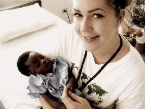 Fallon Smith in a hospital obstetrics room in Haiti last September. The nursing student at UBC's Okanagan campus will return to Haiti next month and hopes to raise $10,000 for families left homeless by last January's devastating earthquake.