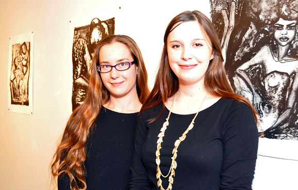 UBC students Lacia Vogel and Nicole Dowhaniuk, co-coordinators of Art on the Line.