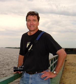 Genocide scholar Adam Jones by the Volga River in Kazan, Russia.