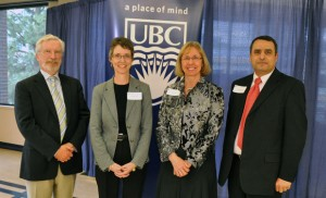 From left, Doug Owram, Deputy Vice Chancellor and Principal, Senior Faculty Award recipients Carolyn Labun and Joyce Boon, and Alaa Abd-El-Aziz, Provost and Vice Principal at UBC's Okanagan campus.