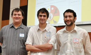 From left, students Drew Ingram, Bryan Lennox and Ryan Trenholm worked with the Ki-Low-Na Friendship Society on a website analysis and redesign as part of the Learning Exchange at UBC's Okanagan campus.