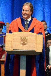 Brad Bennett addresses graduates, officials and members of the audience after he received an honorary Doctor of Laws degree at the University of British Columbia Okanagan Campus convocation ceremony Thursday.