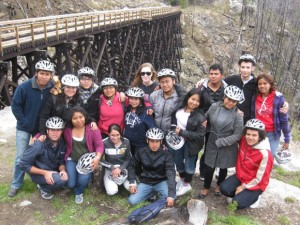 UBC students Joanne Gabias, centre with sunglasses, and Aaron Wylie pose with Quintana Roo students at the Kettle Valley Rail beds during their visit to the Okanagan. Gabias is looking forward to her time in Mexico in July and plans to immerse herself in the everyday life of the host country.