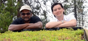 UBC's Okanagan campus School of Engineering Assist. Prof. Kasum Hewage, left, and Civil Engineering MASc student Fabricio Bianchini are conducting tests to see what discarded building materials are best suited to be used in green roofs.