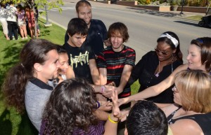 Gokce Ozel, (middle background) leads a fun leadership activity during a training session for the Jump Start program which helps international students adjust to life in their new surroundings. Close to 600 international students are expected to attend the University of British Columbia's Okanagan campus this year.