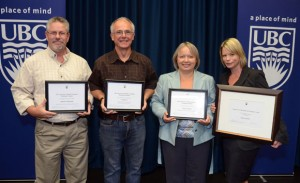 University of British Columbia's Okanagan campus Staff Award recipients, from left, Russell LaMountain, Sustainability award; Craig Eden, Enhancing the UBC Experience; Teija Wakeman, Leadership;  and Deputy Vice Chancellor and Principal award winner Shelley Kayfish. Missing from the photo is Garry Appleton, winner of the Staff Award for Global Citizenship.