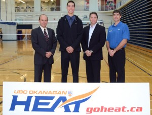 Chris Rigg, left, with Capri Insurance, Heat basketball player Julian Asselstine, Tim Miller of Capri Insurance and Heat head coach Darren Semeniuk. Asselstine received the Capri Insurance Athletics Entrance Scholarship.