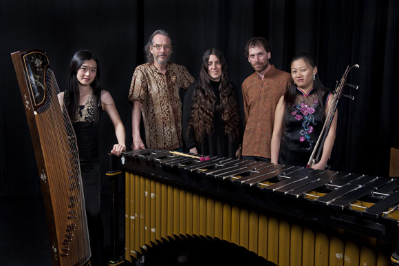Appearing in Gold Mountain Dream, (from left) Yu-Chen Wang, media artists Kenneth Newby and Aleksandra Dulic of the Flicker Arts Collaboratory,  and Orchid Ensemble members Jonathan Bernard and Lan Tung.
