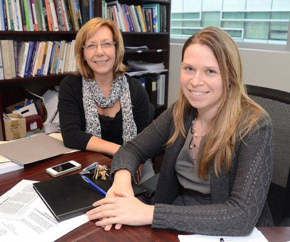 Lori Field, program coordinator with the Learning Exchange at UBC's Okanagan campus, left, and Laura Patterson, technical and professional communication instructor with the School of Engineering, teamed up to teach first-year engineering students about client interaction and communication skills while benefiting six local non-profit agencies.