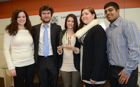 University of British Columbia's Okanagan campus Faculty of Management students Alexandra Upward, Manuel Leckel, Andreea Bianchi, Shelby Burgart and Akhil Gupta brought home a third-place trophy from the prestigious Manitoba International Marketing Competition at the University of Manitoba.