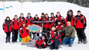 Students from the UBC Okanagan School of Engineering pose with their while testing it out at Big White. The toboggan uses concrete runners and will be entered in the Northern Concrete Toboggan race in Calgary Feb. 8-12. (Photo courtesy of Big White)