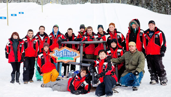Students from the School of Engineering at UBC's Okanagan campus pose with their while testing it out at Big White. The toboggan uses concrete runners and will be entered in the Northern Concrete Toboggan race in Calgary Feb. 8-12. (Photo courtesy of Big White)