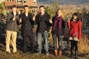 UBC's Okanagan campus World Model United Nations delegation flashes V for Vancouver, site of this year's international student conference. Delegates include, from left: Nick Gunn, Tim Krupa, Oliver Eberle, Savannah Hallworth, Dominique Gelineau.