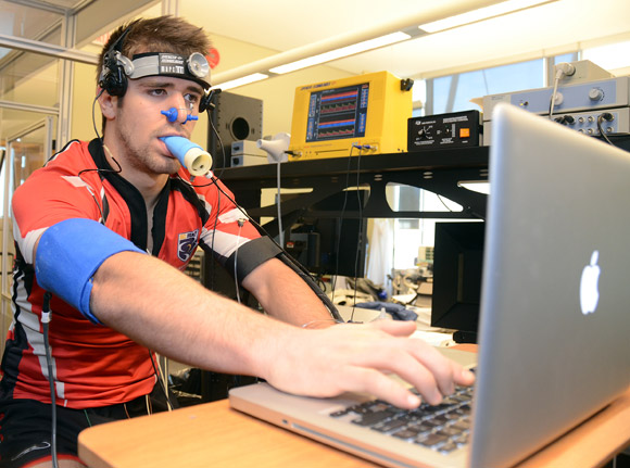 UBC athlete Ryan Simair is put through a series of exercises to test the impact physical activity has on a concussion.
