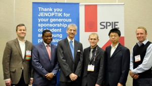 From left: Judges Michael Mielke (Radiance), Wellington Chadehumbe (Triumph Venture Capital) and Marc Himel (Jenoptik Optical Systems) with winners Samuel Schaefer (University of British Columbia Okanagan), Yin Wang (Princeton University) and Petrus Johannes Venter (University of Pretoria) at the OPTO Startup Challenge.