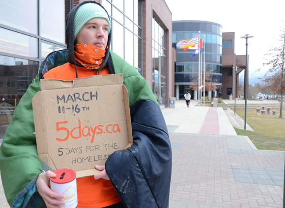 Okanagan campus student Austin Newton will be 'homeless' until 5 p.m. Friday as part of a campaign to raise funds and awareness for the homeless. Austin and four other students will be sleeping on the concrete in front of the Irving K. Barber School of Arts and Sciences this week.