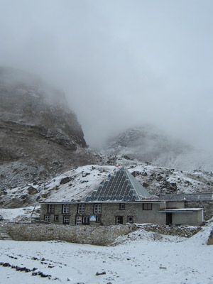 The Pyramid Laboratory seen in winter.