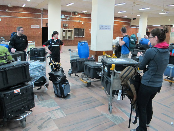 UBC's Everest research expedition team arrives at Kathmandu Airport. Health and Exercise Sciences student Lauren Ray, right, from Nelson, ponders what to do with all those cargo cases.