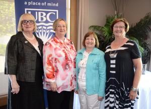 Four of UBC's Okanagan campus long-service award recipients are, from left: Robin Dods, 25 years; Carol McFadyen, 35 years; Barbara Brown-McKenzie, 30 years; and Joan Bassett-Smith, 35 years.