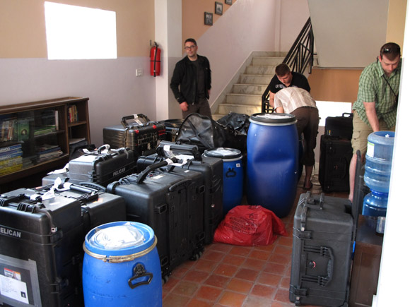 Loading up: Members of the UBC Everest international research expedition wrestle with the logistics of packing crates and barrels for their month-long stay at the Pyramid Laboratory near Everest Base Camp.