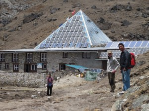 Everest expedition team members arrive at the Pyramid Laboratory, at an altitude of 5,050 metres.