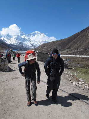 PhD students Chris Willie (left) and Kurt Smith, both from Kelowna, on the last stretch of the epic eight-day hike to the Pyramid Laboratory near Everest Base camp.