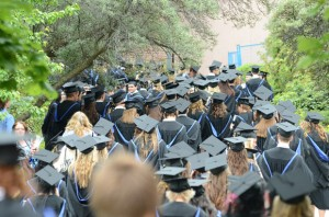 Grads line up for Convocation ceremonies at UBC's Okanagan campus on Thursday.