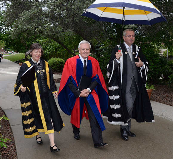 UBC Chancellor Sarah Morgan-Silvester, honorary degree recipient D. Ross Fitzpatrick and UBC President Prof. Stephen Toope