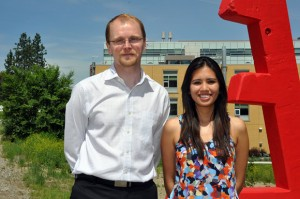 Assistant professor of engineering Lukas Bichler with MASc student Karen Robles